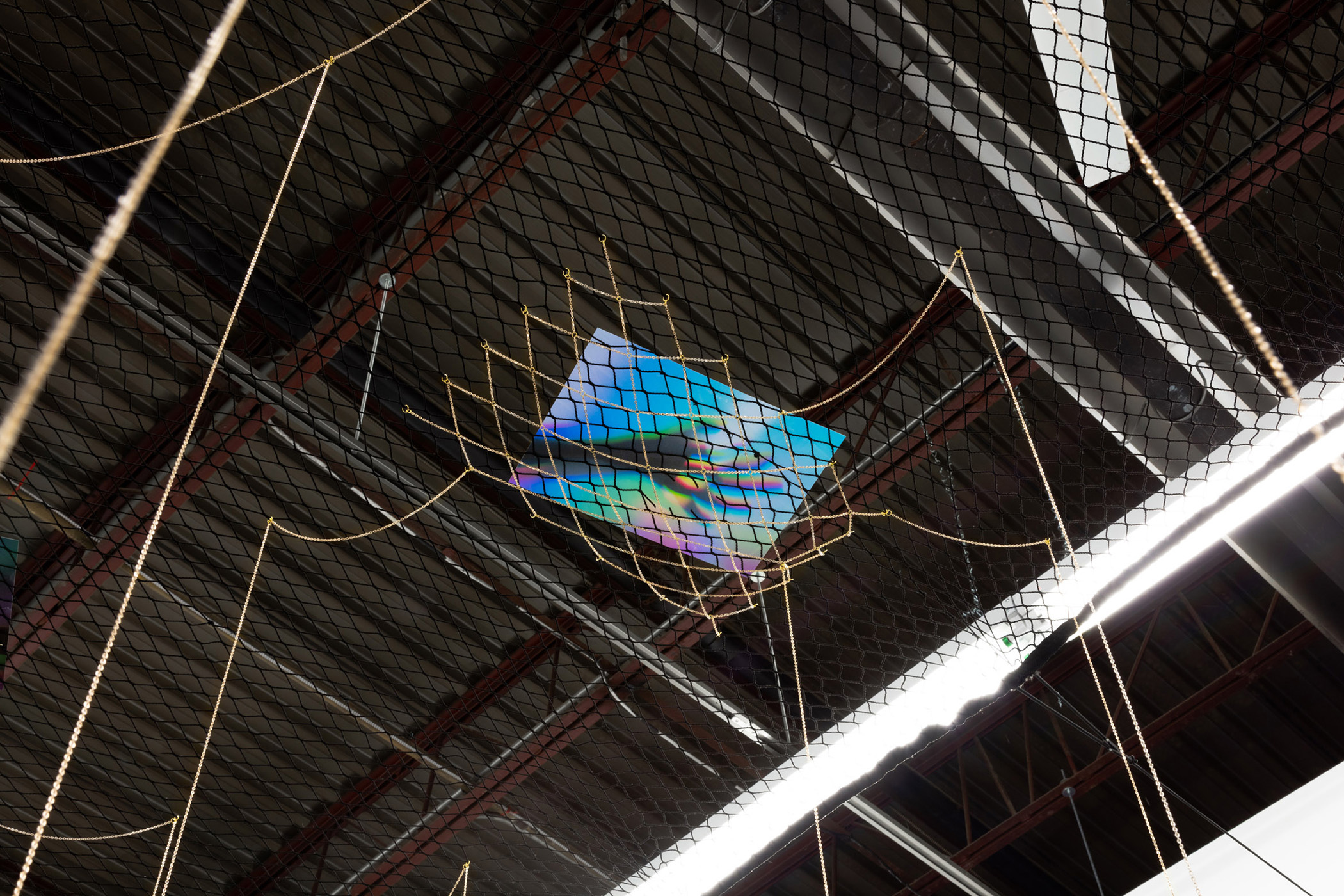 <i>Love is Gravity</i><br>2019-20<br> Colour transparencies, netting and gold chain <br>Dimensions variable