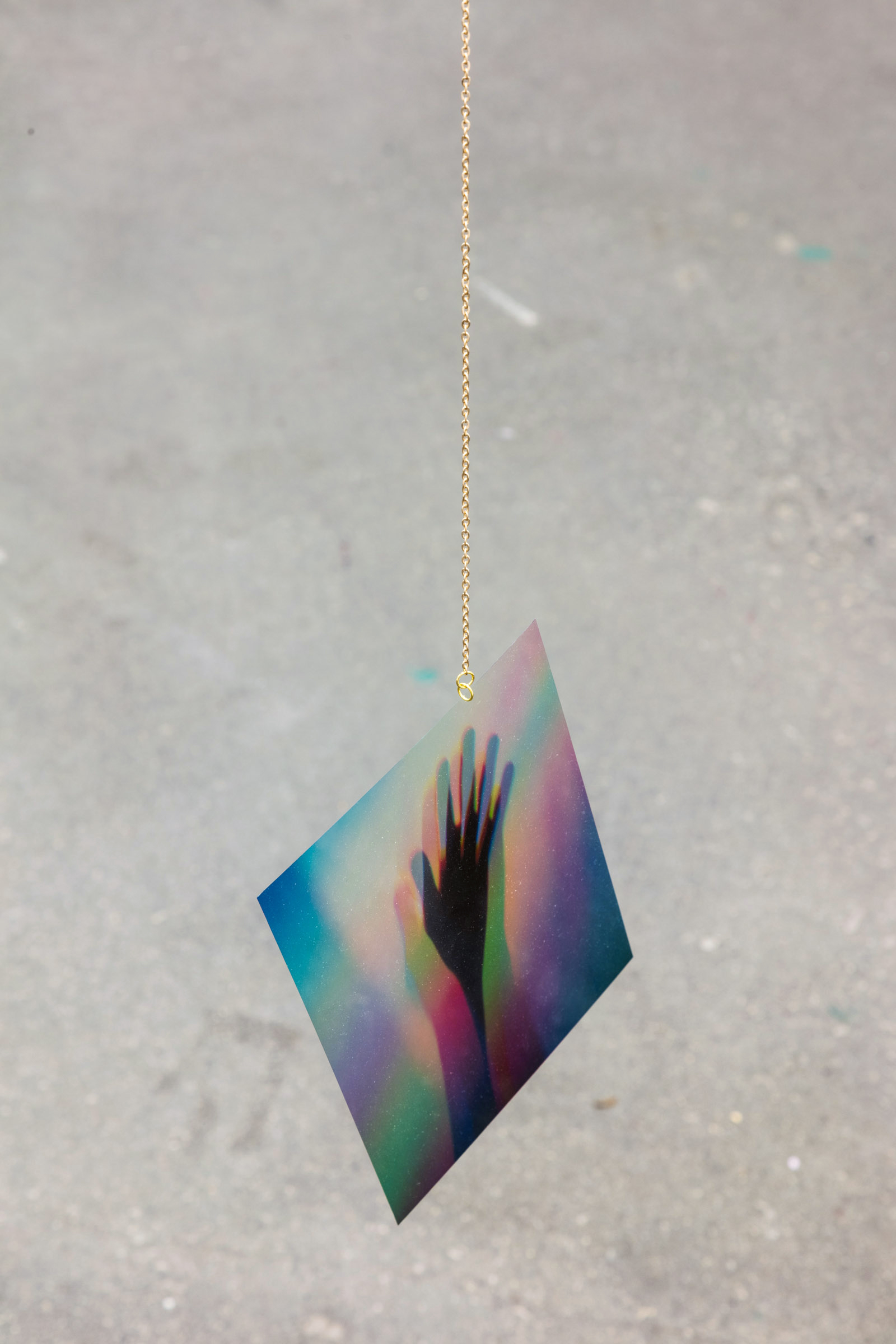 <i>Love is Gravity</i><br>2019-20<br>Colour transparencies, netting and gold chain <br>Dimensions variable